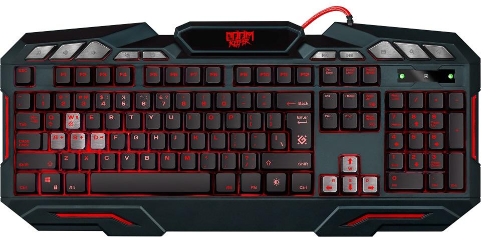 Клавиатура игровая DEFENDER Doom Keeper GK-100DL RU,3-х цветная,19 Anti-Ghost, USB клавиатура defender doom keeper gk 100dl 45100