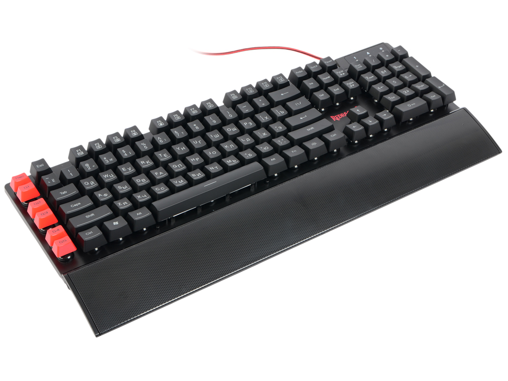 Клавиатура Redragon Yaksa RU Black USB проводная, 110 клавиш + 12 gaming keyboard redragon xenica ru