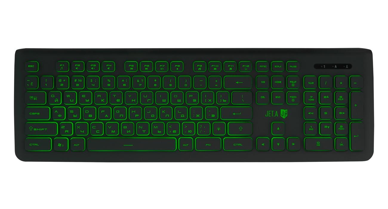 Клавиатура Jet.A SlimLine K20 LED Black USB проводная,105 клавиш клавиатура bluetooth ультракомпактная jet a slimline k9 bt silver для планшетных компьютеров