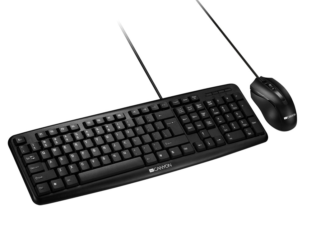 Клавиатура CANYON CNE-CSET1RU, USB standard KB, water resistant RU layout bundle with optical 3D wired mice 1000DPI black