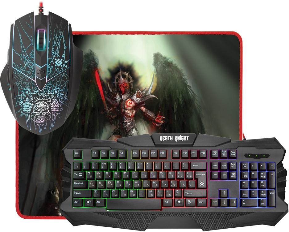 Комплект Defender Death Knight MKP-007 RU Black USB клавиатура: проводная / мышь: проводная, оптическая, 2400dpi, 5 кнопок + колесико мышь проводная tt esports by thermaltake azurues mini mo arm005dt black