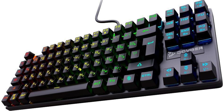 Клавиатура QCYBER TOMAHAWK TKL Black USB проводная, 87 клавиши + 12 клавиатура qcyber dominator tkl black usb gamer rgb