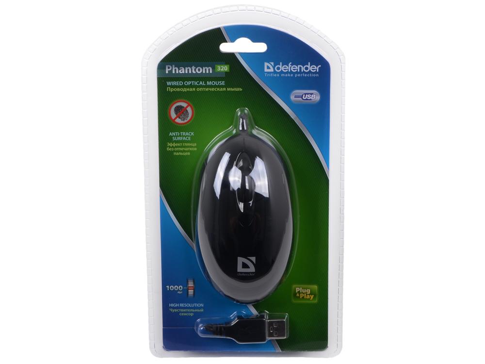 Мышь Defender Phantom 320 B (Черный), USB 2кн, 1кл-кн. мышь a4 tech x 755bk usb 9 кн 1кл кн