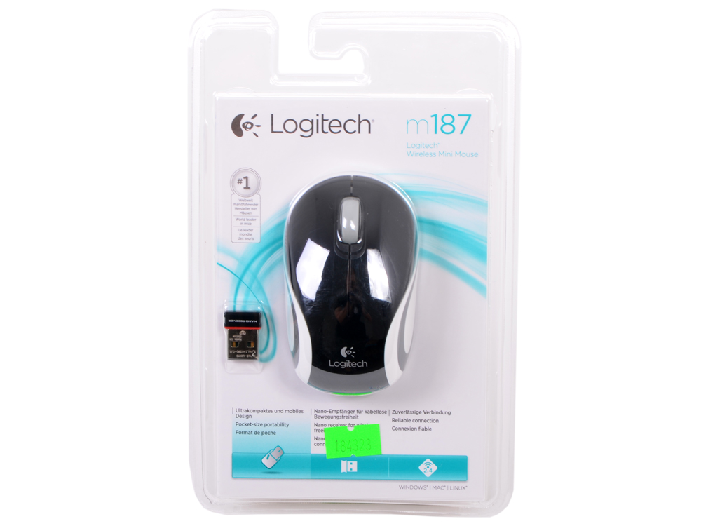 Мышь (910-002736) Logitech Wireless Mini Mouse M187, Black мышь logitech wireless mini mouse m187 blue orange usb 910 002733 910 002733