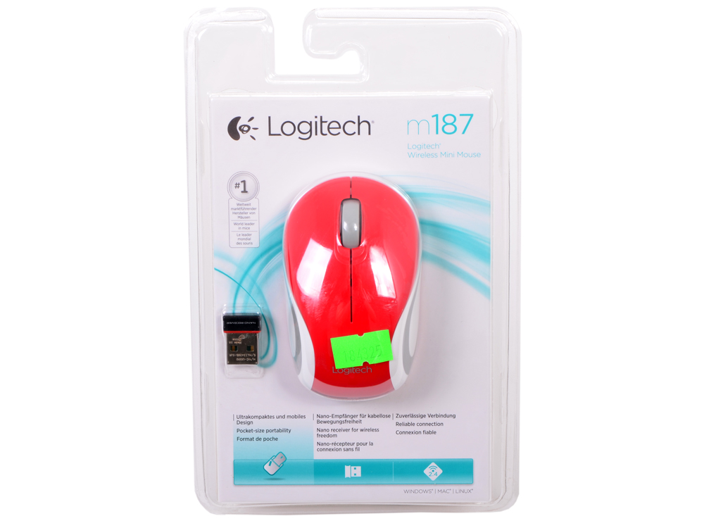 Мышь (910-002737) Logitech Wireless Mini Mouse M187, Red мышь logitech wireless mini mouse m187 blue orange usb 910 002733 910 002733