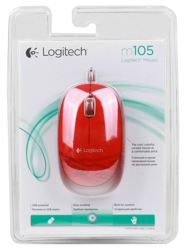Мышь (910-003118) Logitech Mouse M105 Red