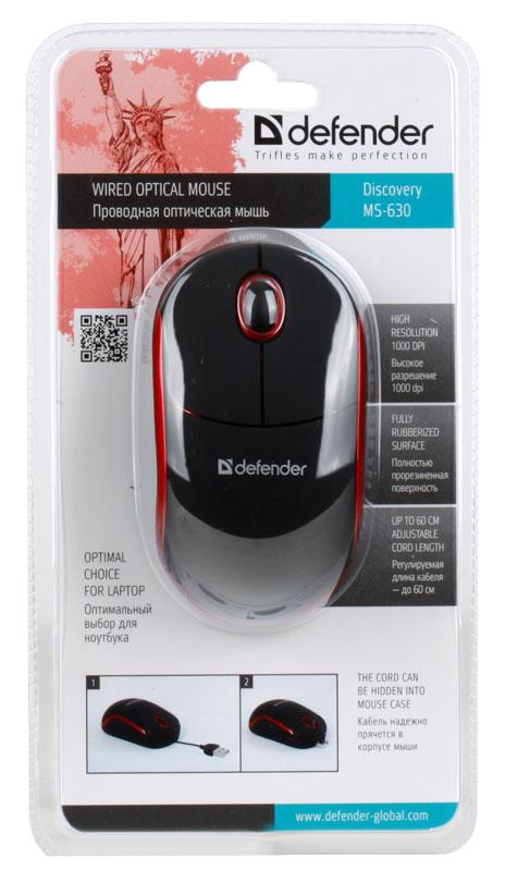 Мышь Defender Discovery MS-630 USB  1000 dpi  Черно-красная  Скруч.кабель
