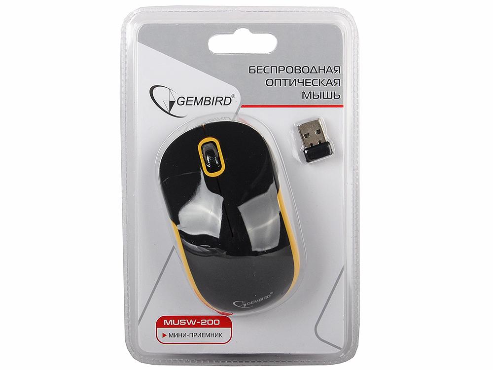 Мышь беспроводная Gembird MUSW-200BKY, soft touch, черн/желт, 2кн.+колесо-кнопка, 2.4ГГц цена