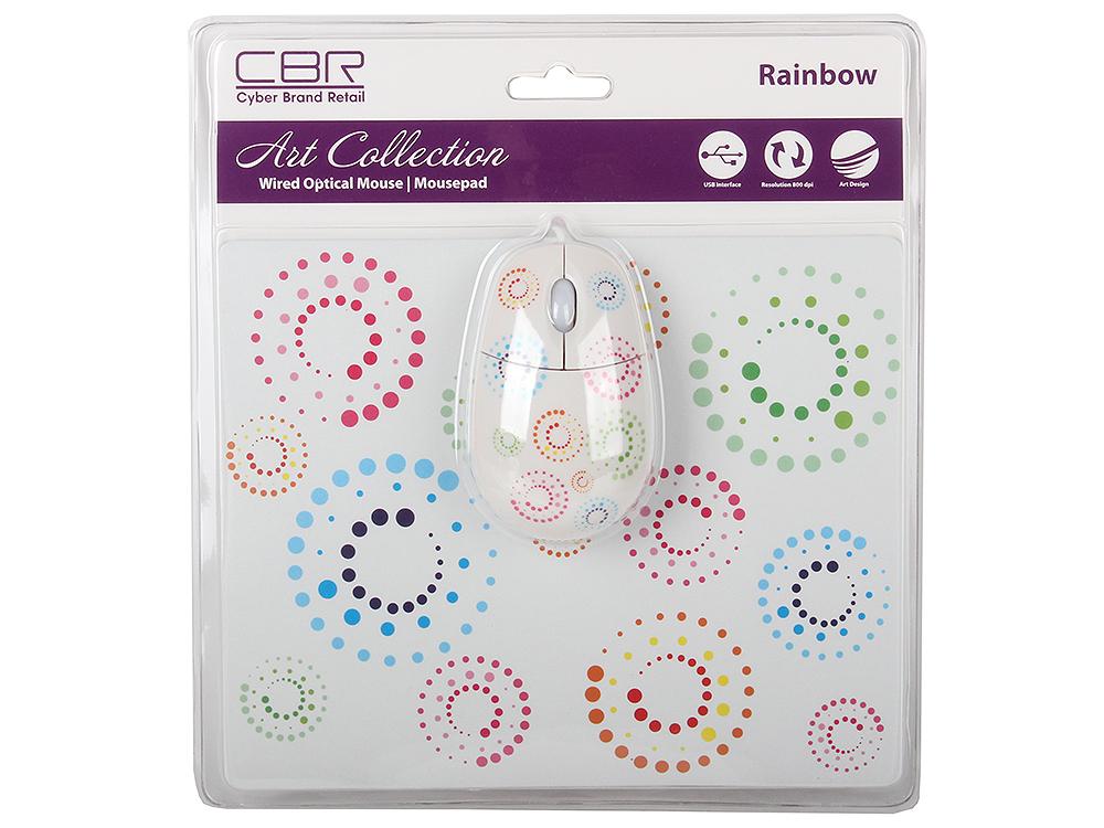 Мышь + коврик CBR Rainbow, USB мышь cbr cm 500 grey