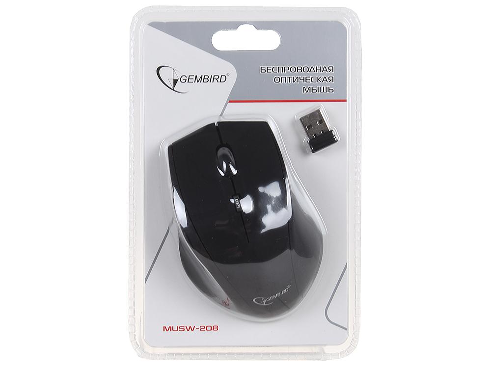 Мышь беспроводная Gembird  MUSW-208 , soft touch, черн, 5кн.+колесо-кнопка, 2.4ГГц, 1600DPI