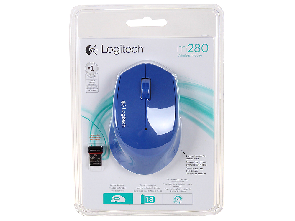 Мышь (910-004290) Logitech Wireless Mouse M280 Blue EWR logitech m280 blue 910 004290