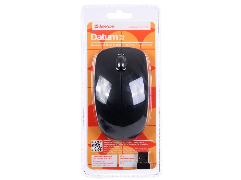 Мышь Defender Datum MM-035 черный,3 кнопки,800-1600 dpi IR-лазерная цена и фото