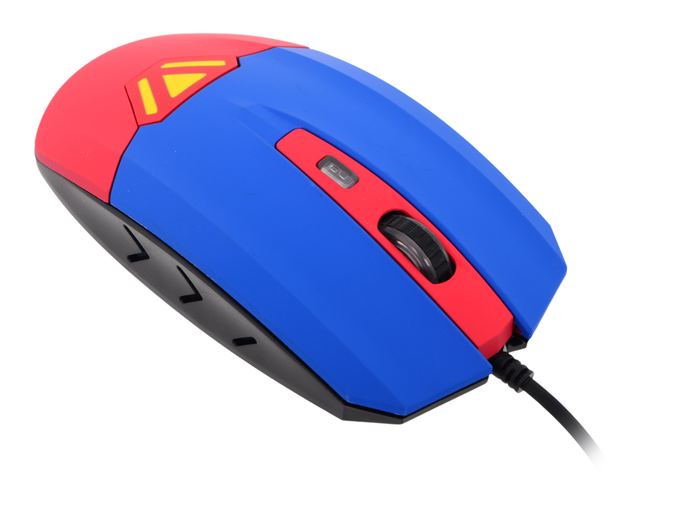 Мышь CBR CM833 Superman, оптика, встроенное Вибро (вибрация на нажатие левой/правой кнопки, массаж кисти, таймер вибро 1 раз в час), принт, 3200dpi, U оптика leapers