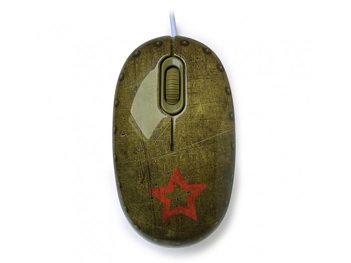 Мышь сувенирная+ коврик CBR Tank Battle,  1200 dpi, рисунок, USB