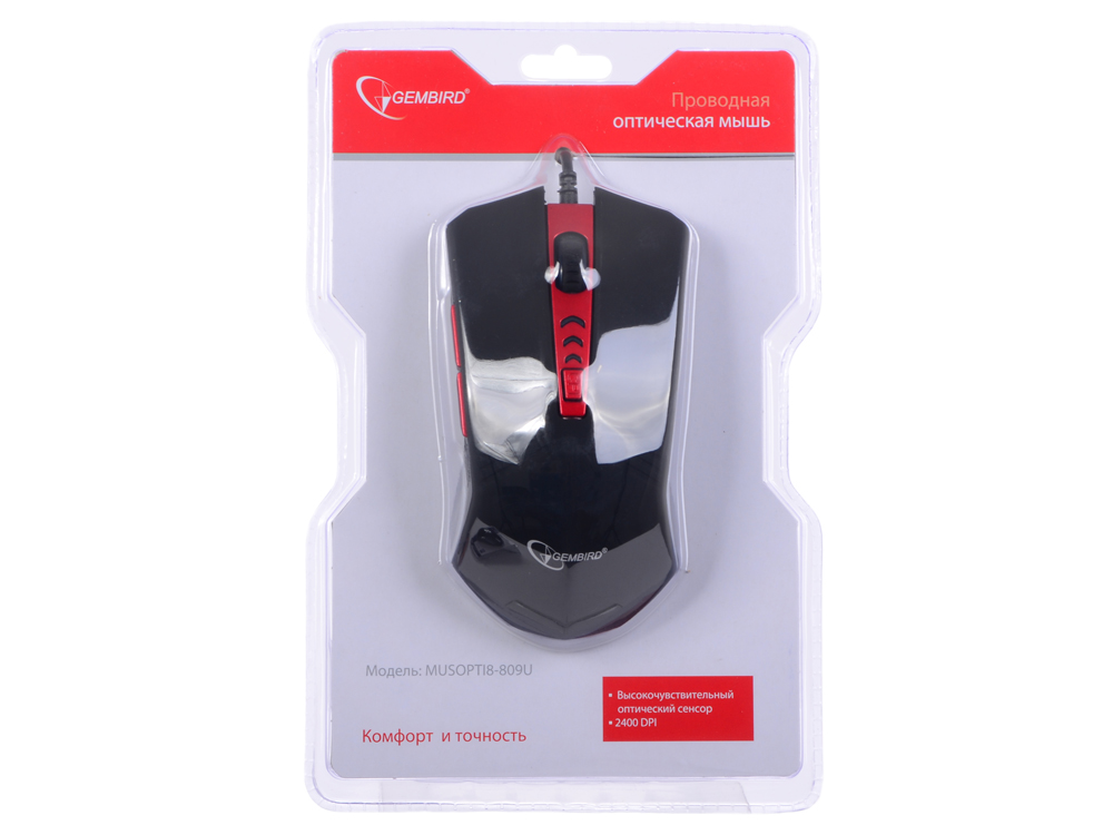 Мышь Gembird MUSOPTI8-809U, USB, черн./красн, soft touch, 2400dpi,4 кнопки + колесо-кнопка