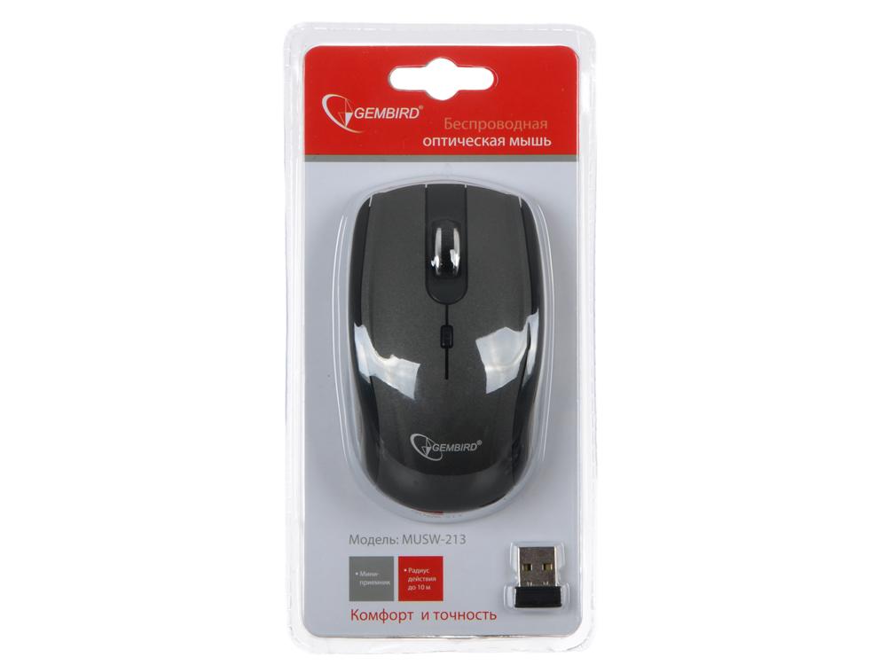 Мышь беспров. Gembird MUSW-213, soft touch, т.сер./черн., 3кн.+колесо-кнопка, 2.4ГГц, 1600 dpi