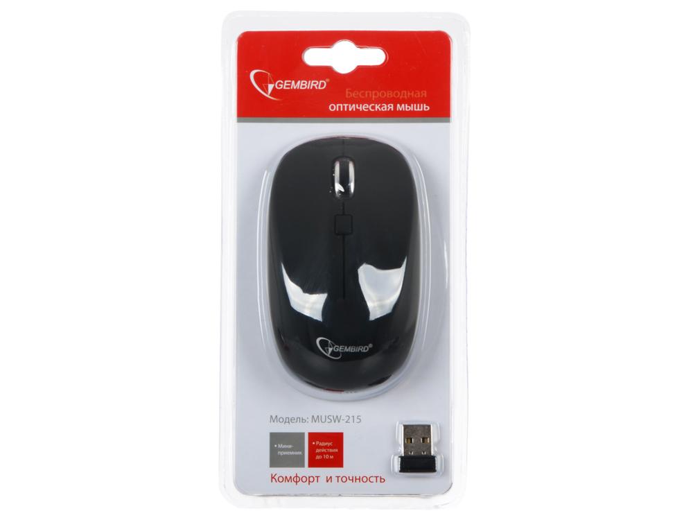 Мышь беспров. Gembird MUSW-215, soft touch, черн., 3кн.+колесо-кнопка, 2.4ГГц, 1600 dpi