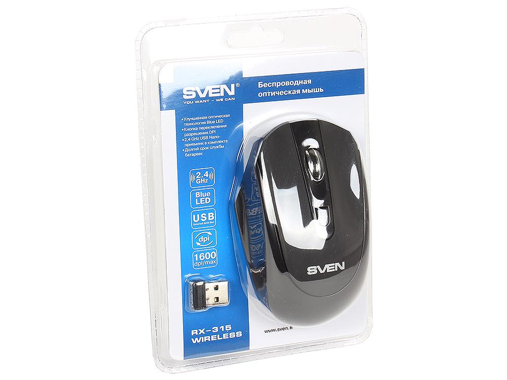 Беспроводная мышь SVEN RX-315 Wireless черная, BlueLED, 3+1(колесо прокрутки), 800/1200/1600 dpi, симметричная jeway jm 6019 usb wireless 2 4ghz 800 1200 1400 1600 dpi 6d optical gaming mouse brown white