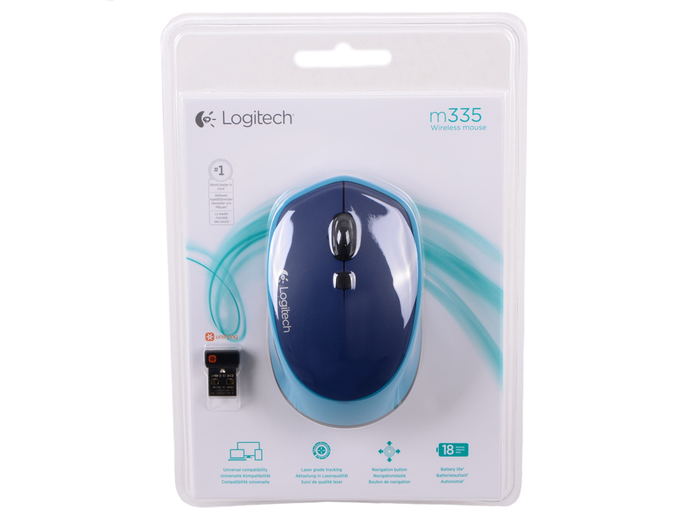 Мышь (910-004546) Logitech Wireless Mouse M335 Blue мышь logitech wireless mini mouse m187 blue 910 002738