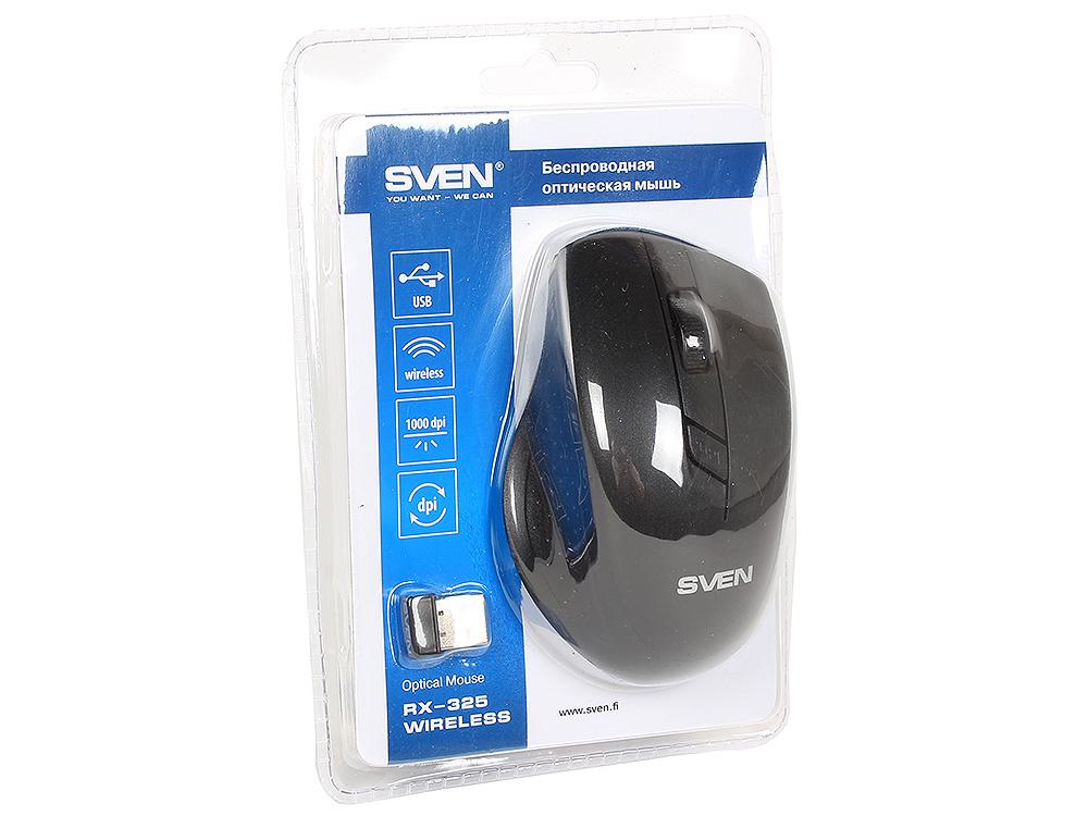 цена на Беспроводная мышь SVEN RX-325 Wireless черная, 4 клавиши, эргономичная форма, блистер
