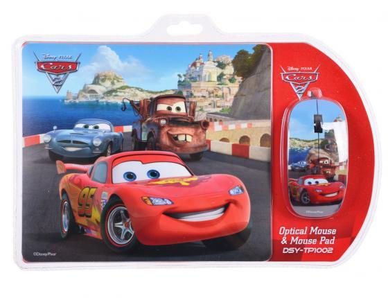 Комплект Cirkuit Planet DSY-TP1002 Cars коврик / мышь: проводная, оптическая, 1200dpi, 2 кнопки + колесико