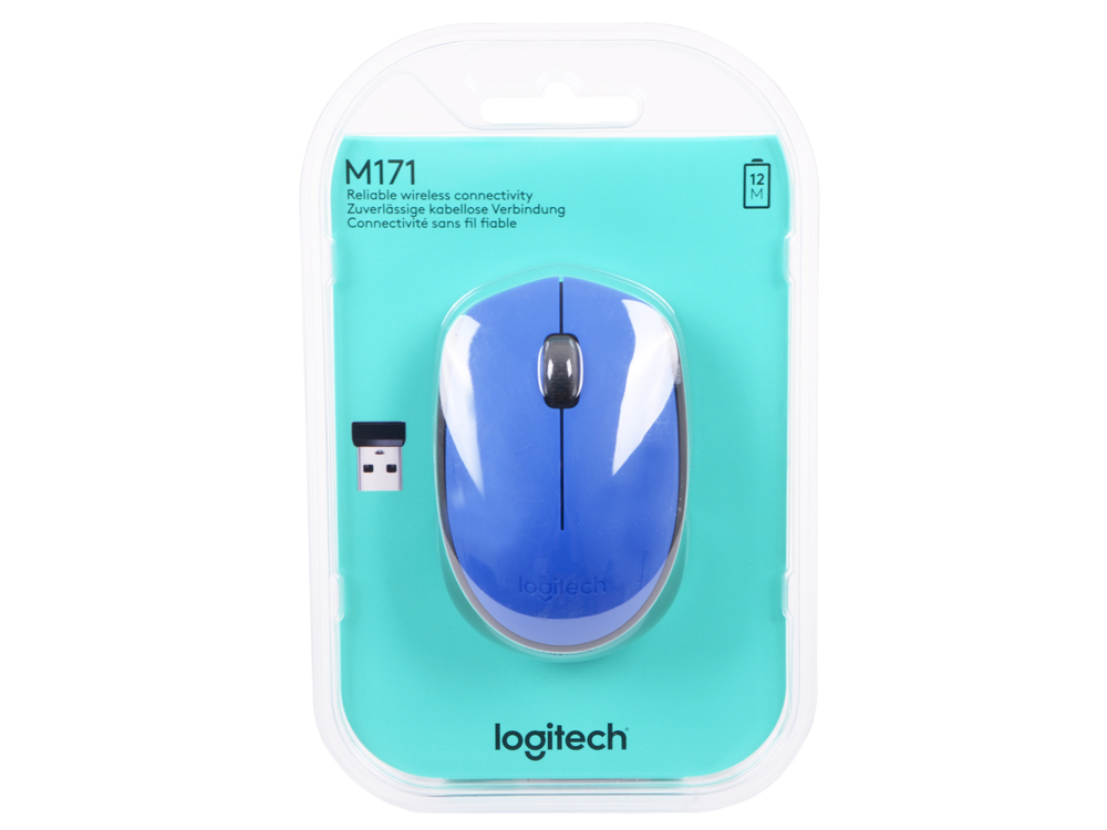 Мышь (910-004640) Logitech Wireless Mouse M171, Blue мышь logitech wireless mini mouse m187 blue orange usb 910 002733 910 002733