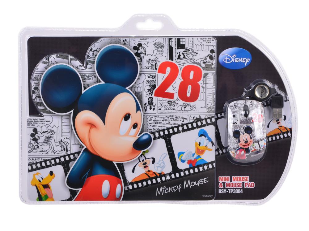 Мышь оптическая проводная мини+коврик Cirkuit Planet DSY-TP3004 Mickey USB 2.0 1000 dpi 2 кнопки+скролл со скручивающимся кабелем