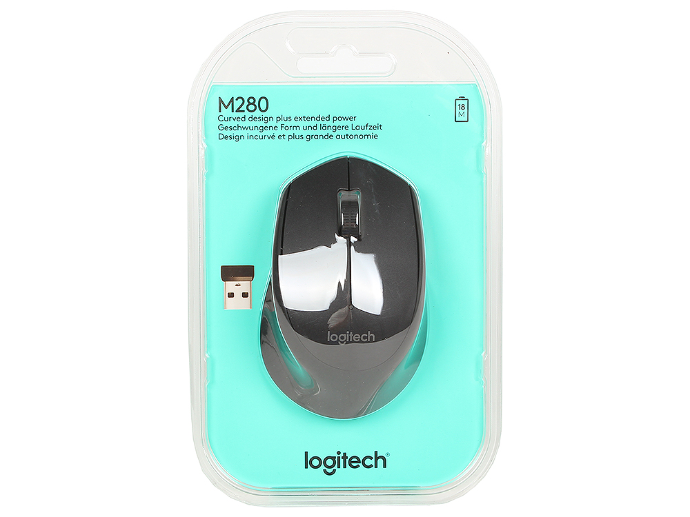 Мышь (910-004287) Logitech Wireless Mouse M280 Black EWR