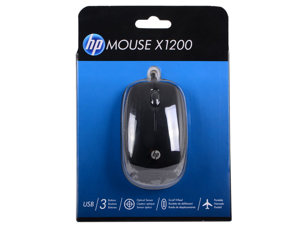 Мышь HP X1200 Wired Black Mouse (H6E99AA#ABB) мышь hp x1200 wired blue mouse h6f00aa abb