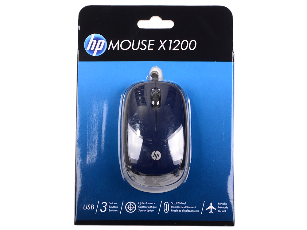 Мышь HP X1200 Wired Blue Mouse (H6F00AA#ABB) мышь hp x9000 omen mouse j6n88aa