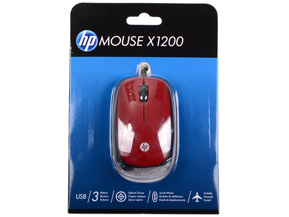 Мышь HP X1200 Wired Red Mouse (H6F01AA#ABB) мышь hp x1200 wired blue mouse h6f00aa abb