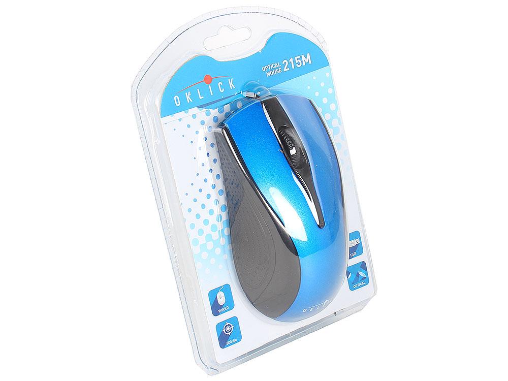Мышь Oklick 215M black/blue optical (800dpi) USB (2but)