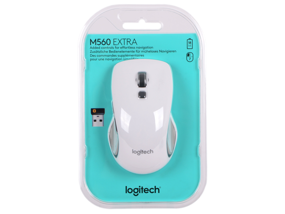 Мышь (910-003913) Logitech Wireless Mouse M560 White EWR мышь logitech m560 wireless mouse black usb 910 003882