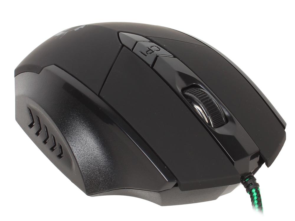 Мышь Oklick 815G черный оптическая (2400dpi) USB игровая (5but) oklick 865g snake black orange игровая мышь