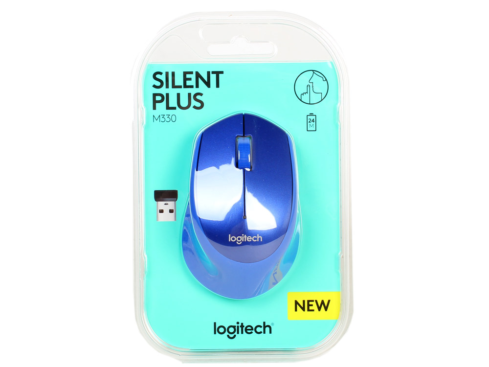 Мышь (910-004910) Logitech Wireless Mouse M330 SILENT PLUS Blue мышь logitech m525 wireless mouse blue usb 910 004933