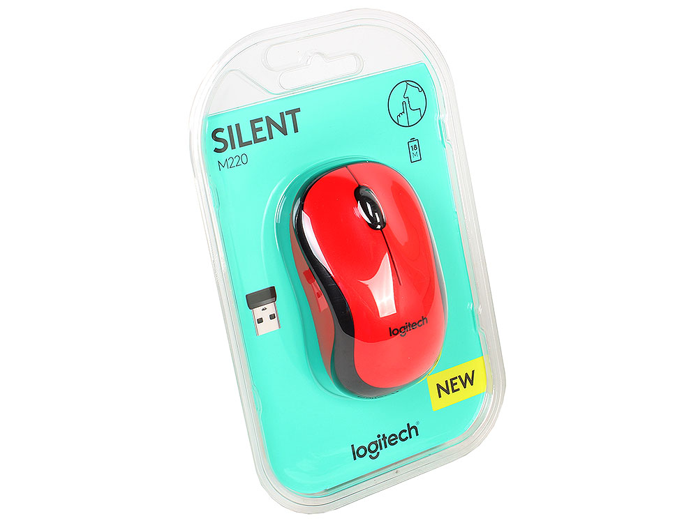 Мышь (910-004880) Logitech Wireless Mouse M220 SILENT Red цена и фото