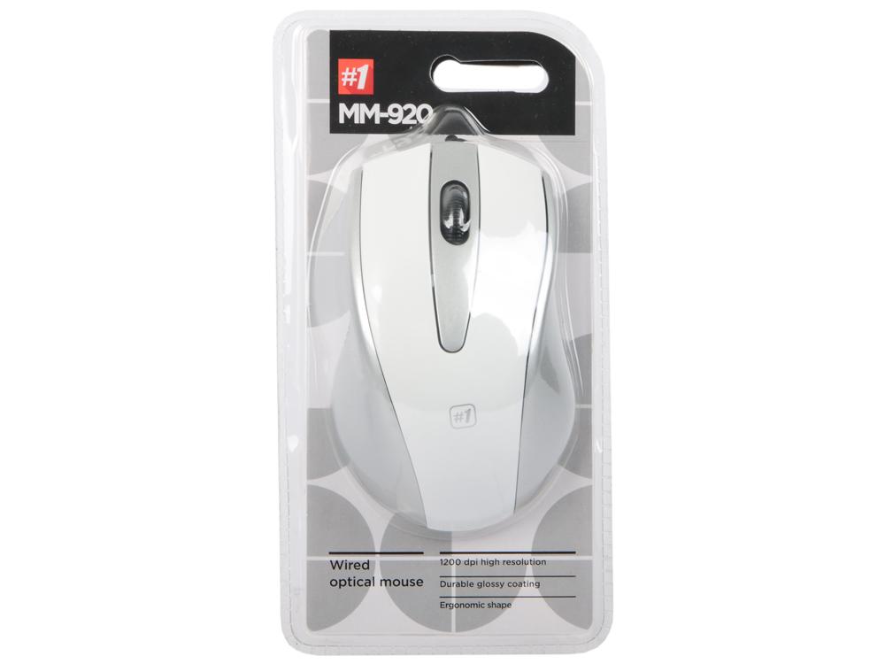 Мышь Defender MM-920 White Gray USB проводная, оптическая, 1200 dpi, 2 кнопки + колесо