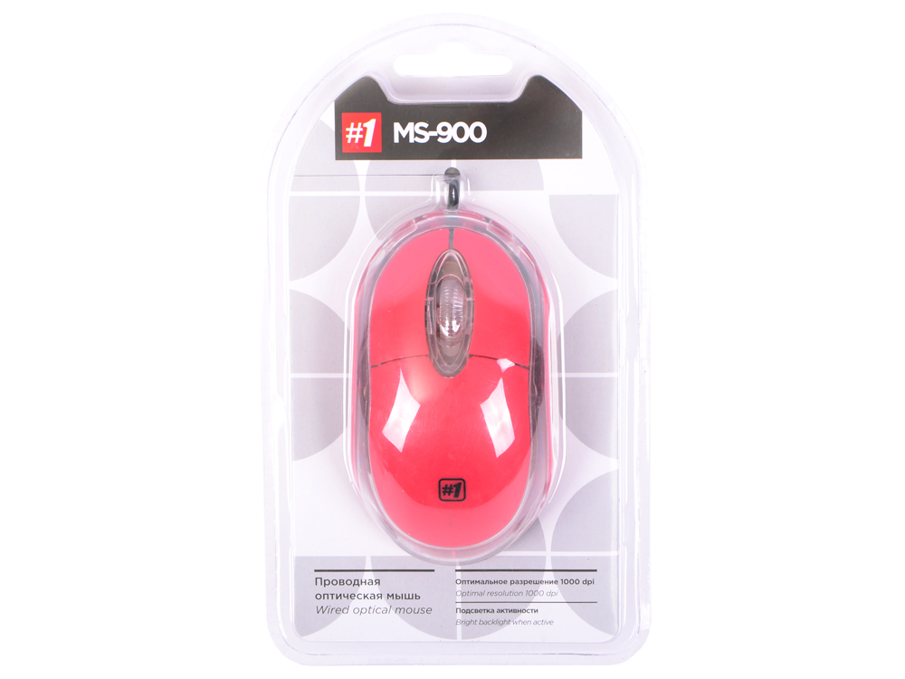 Мышь проводная DEFENDER MS-900 красный USB 52901 мышь defender ms 900 синий 52902