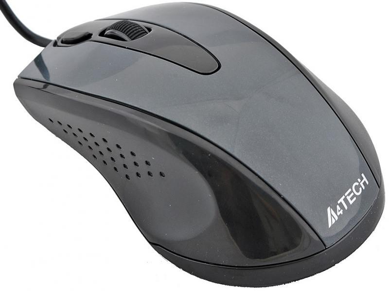 Мышь проводная A4TECH N-500F-1 чёрный серый USB цена