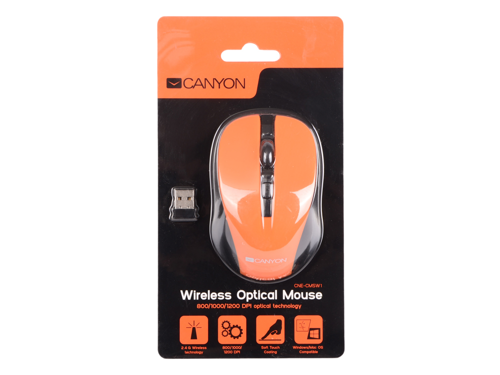 Мышь беспроводная CANYON CNE-CMSW1O (Wireless, Optical 800/1000/1200 dpi, 4 btn, USB, power saving button), оранжевый USB weyes ms 929 wired 6 key usb 2 0 800 1000 1600 2400dpi optical gaming mouse black green