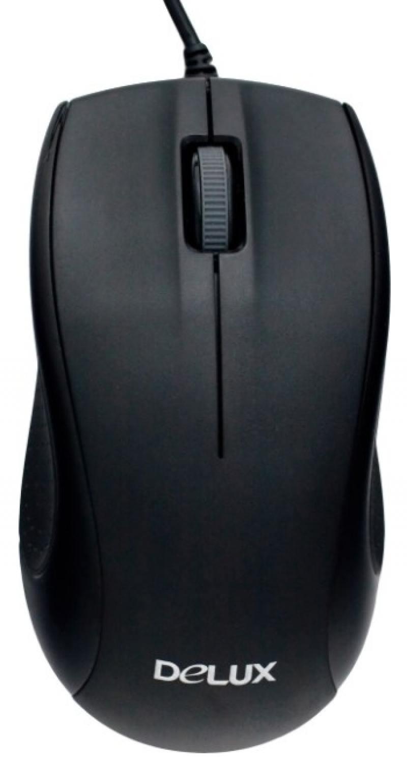 Мышь Delux M375 Black USB проводная, оптическая, 3 кнопки + колесо цена