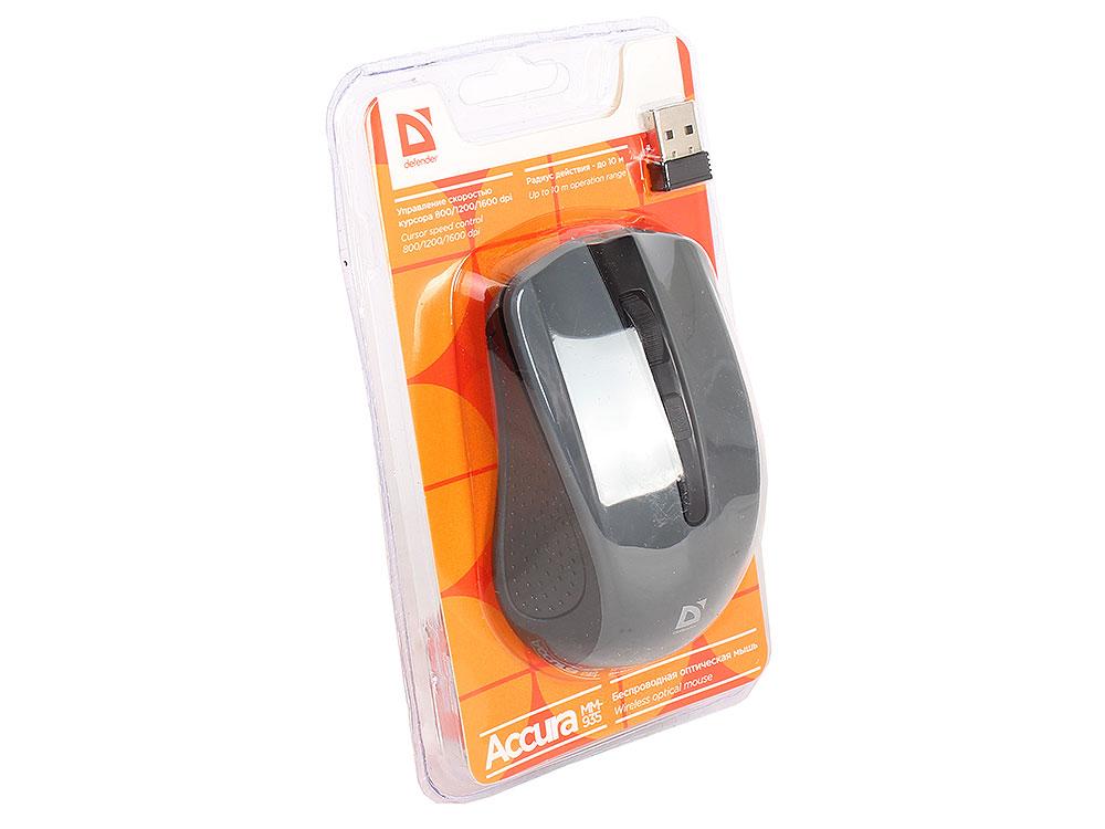 лучшая цена Беспроводная оптическая мышь Defender Accura MM-935 серый, 4 кнопки,800-1600 dpi