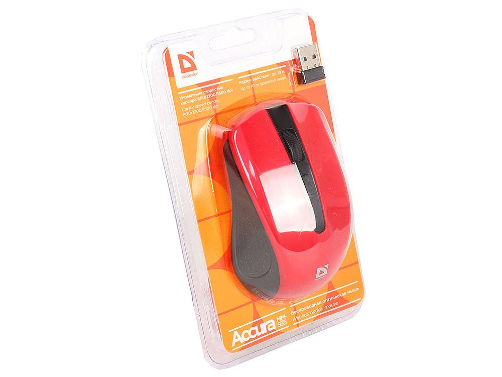 лучшая цена Мышь беспроводная Defender Accura MM-935 Black Red USB оптическая, 1600 dpi, 3 кнопки + колесо