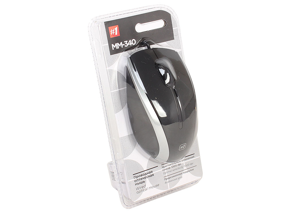 Проводная оптическая мышь Defender MM-340 черный+серый,3 кнопки,1000 dpi