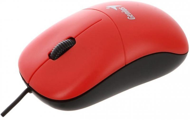 Мышь проводная Genius DX-135 красный USB мышь проводная genius dx 100x голубой белый usb