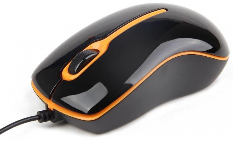 Мышь проводная Gembird MUS-U-004-O чёрный оранжевый USB цена 2017