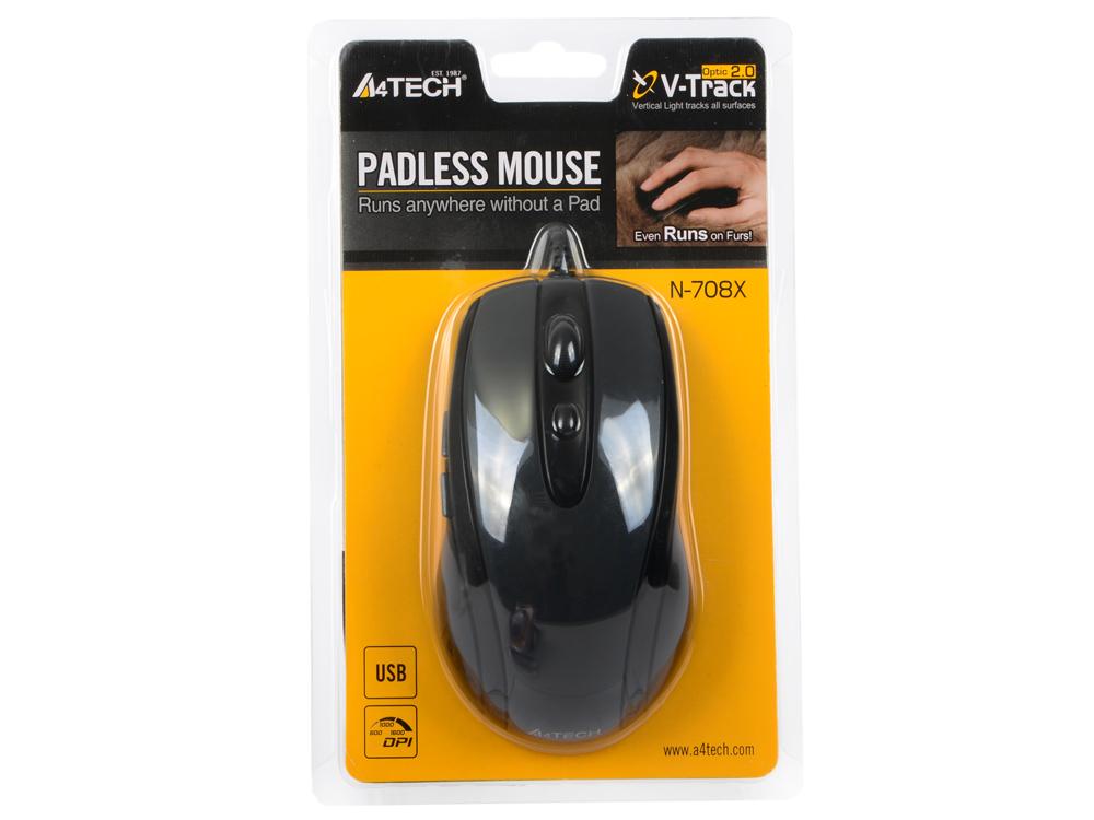 Мышь проводная A4TECH N-708X-1 V-Track Padless чёрный серый USB мышь проводная a4tech n 500f 1 v track padless чёрный серый usb