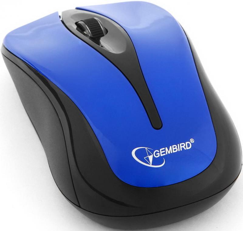 Мышь беспроводная Gembird MUSW-325-B, синий, 2кн.+колесо-кнопка, 2.4ГГц, 1000 dpi