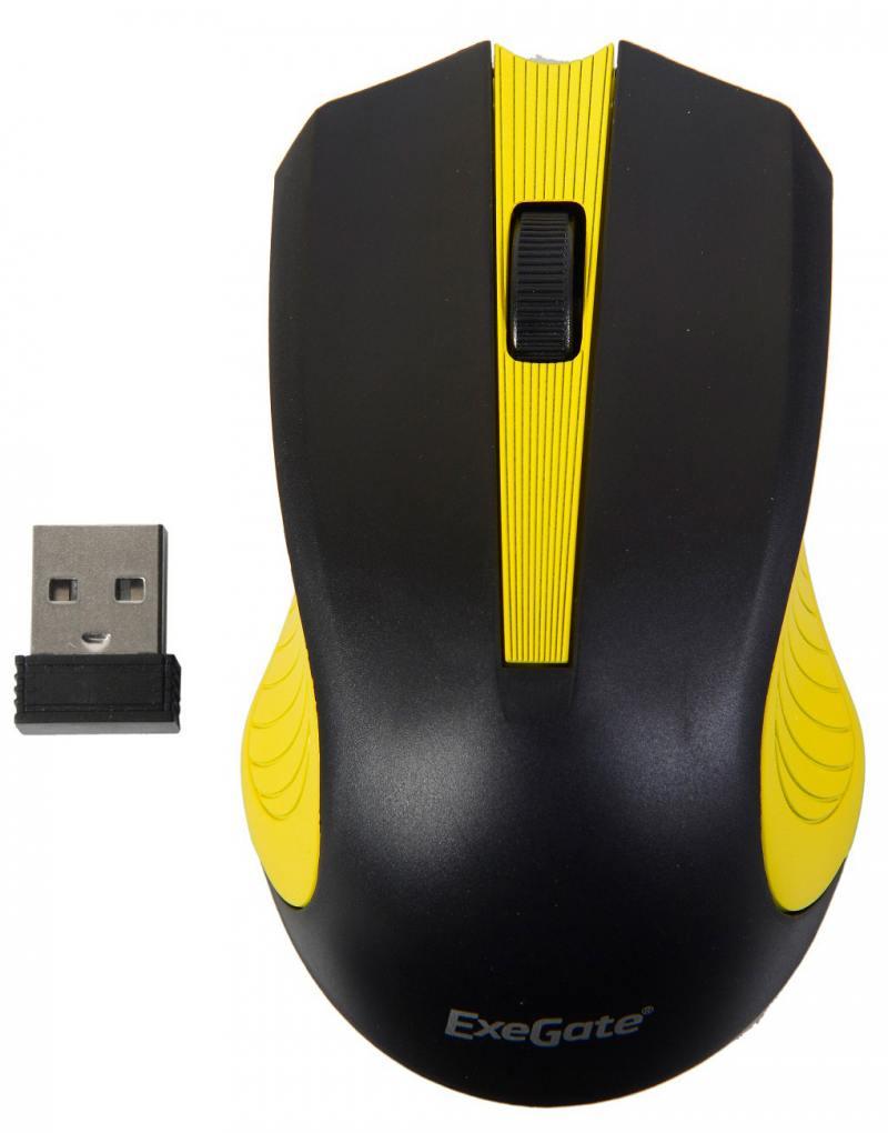 Мышь беспроводная Exegate SR-9015BY чёрный жёлтый USB