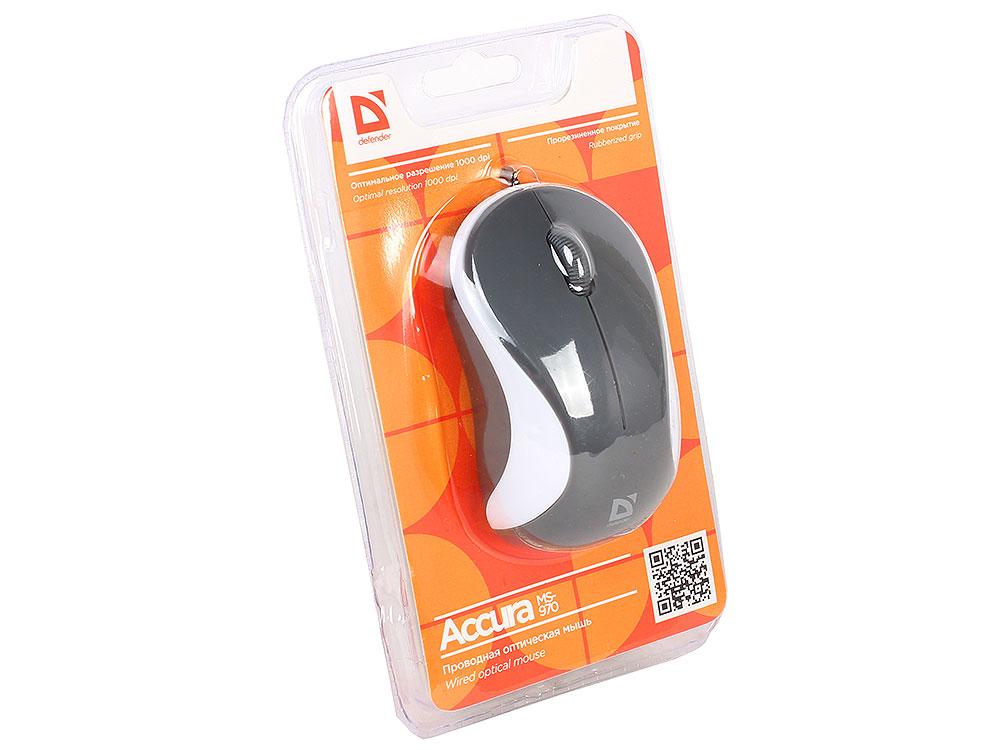 Проводная оптическая мышь Defender Accura MS-970 серый+белый,3 кнопки,1000 dpi мышь defender streetart ms 305 nano g серый 2кн кл